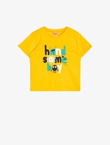 Koton Kids Baskili T-Shirt Sarı